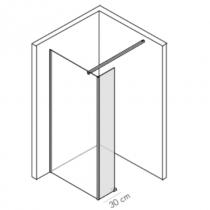 Paroi fixe retour Néopur 30cm verre transparent profilé Chromé - O\'DESIGN Réf. NEOPUR30