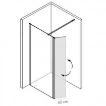 Paroi pivotante retour Néopur 30cm verre transparent profilé Chromé - O\'DESIGN Réf. NEOPUREXT40