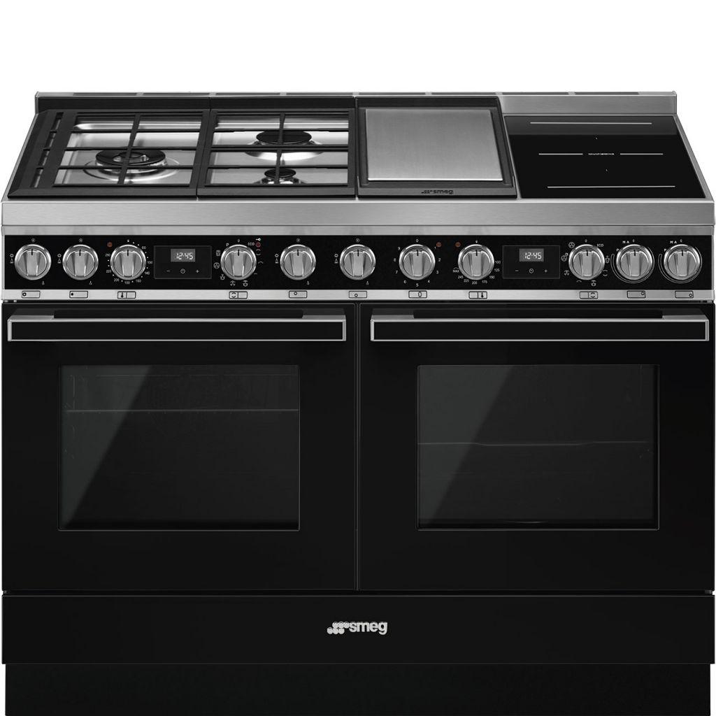 Cuisine Au Gaz Ou Induction piano de cuisson portofino 120cm noir - four pyrolyse avec sonde + four  vapeur / 3 gaz / 2 induction / 1 teppanyaki - smeg