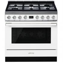 Piano de cuisson Portofino 90cm Four multifonction 115l Vapor Clean / 6 foyers gaz Blanc - SMEG ELITE Réf. CPF9GMWH