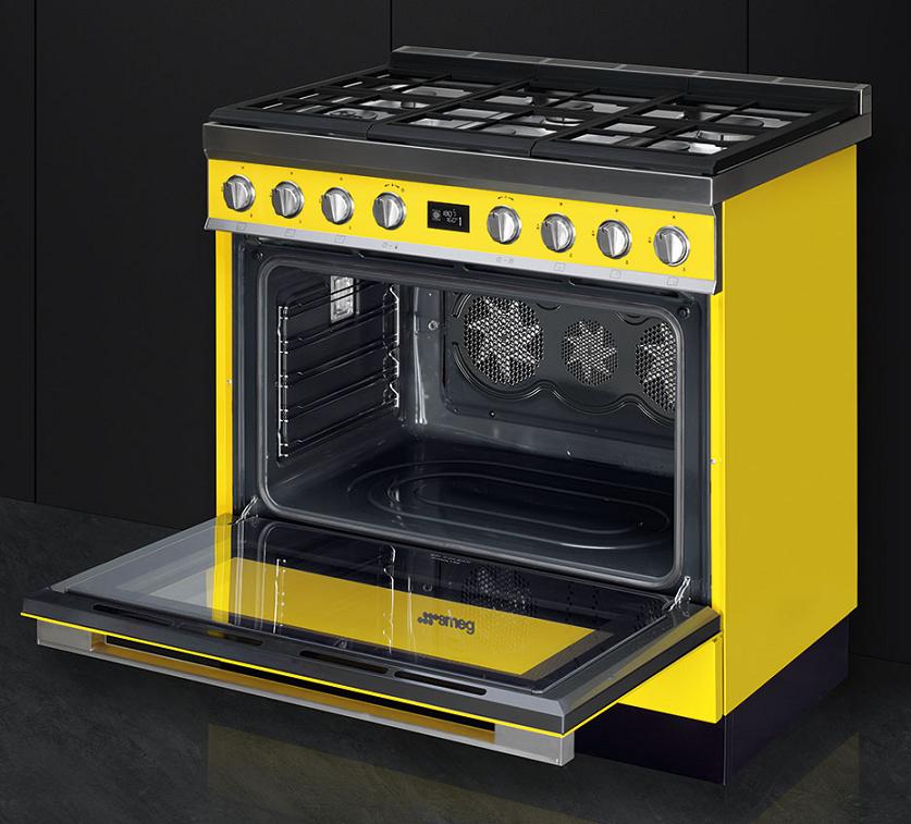 Piano de cuisson portofino 90cm four multifonction 115l vapor clean 6 foyers gaz jaune smeg - Piano cuisine gaz ...