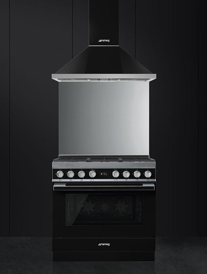 Piano de cuisson Portofino 90cm Four multifonction 115l Vapor Clean / 6 foyers gaz Noir - SMEG ELITE Réf. CPF9GMBL
