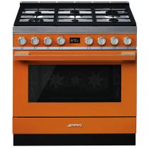 Piano de cuisson Portofino 90cm Four multifonction 115l Vapor Clean / 6 foyers gaz Orange - SMEG ELITE Réf. CPF9GMOR