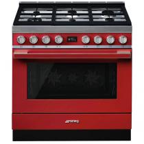 Piano de cuisson Portofino 90cm Four multifonction 115l Vapor Clean / 6 foyers gaz Rouge - SMEG ELITE Réf. CPF9GMR