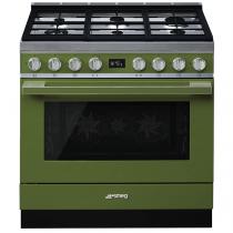 Piano de cuisson Portofino 90cm Four multifonction 115l Vapor Clean / 6 foyers gaz Vert Olive - SMEG ELITE Réf. CPF9GMOG