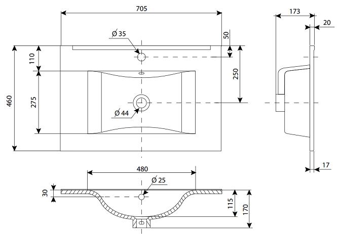 Plan de toilette C\'ram 70cm Blanc brillant - AQUARINE Réf. 814003