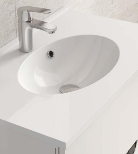 Plan de toilette CUP 80cm Blanc brillant - AQUARINE Réf. 816703