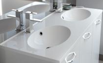Plan de toilette double CUP 120cm Blanc brillant - AQUARINE Réf. 816704
