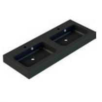 Plan de toilette double KODIAC 120cm Noir mat - AQUARINE Réf. 823184