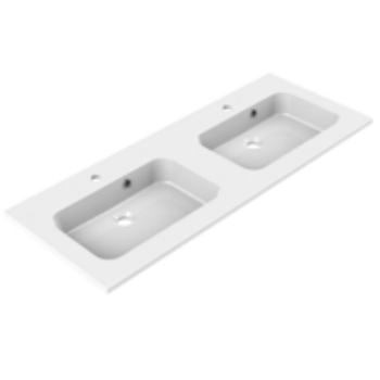 Plan de toilette double MILO 120cm Blanc brillant - AQUARINE Réf. 822509