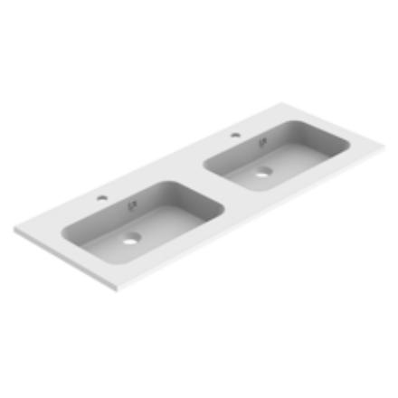 Plan de toilette double MILO 120cm Blanc mat - AQUARINE Réf. 824860