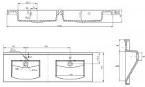 Plan de toilette double Mind 140cm Blanc brillant  - AQUARINE Réf. 817790