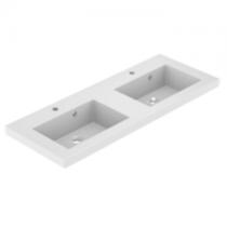 Plan de toilette double VADOS 120cm Blanc mat - AQUARINE Réf. 824852