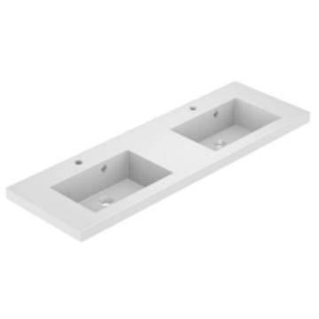 Plan de toilette double VADOS 140cm Blanc brillant - AQUARINE Réf. 824847