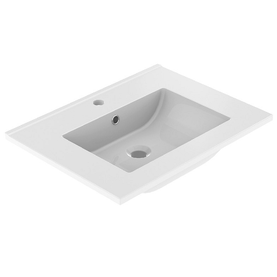 Plan de toilette LUNO 60.5x46.2cm Blanc brillant - AQUARINE Réf. 824870