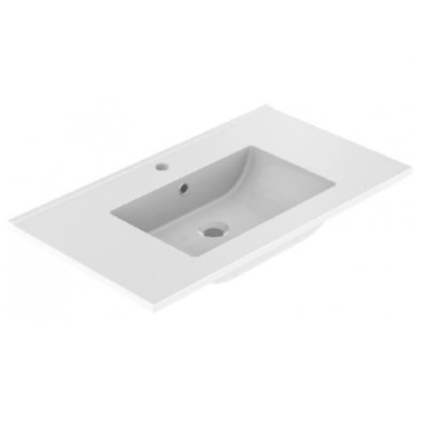 Plan de toilette LUNO 80.5x46.2cm Blanc brillant  - AQUARINE Réf. 824872