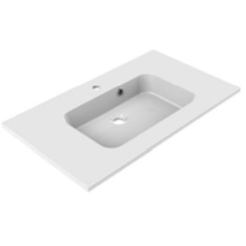 Plan de toilette MILO 80cm Blanc brillant - AQUARINE Réf. 822505