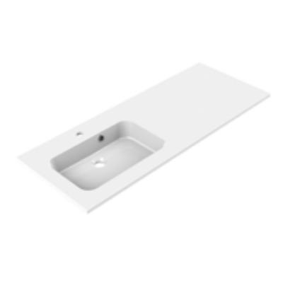 Plan de toilette vasque à gauche MILO 120cm Blanc brillant - AQUARINE Réf. 822508