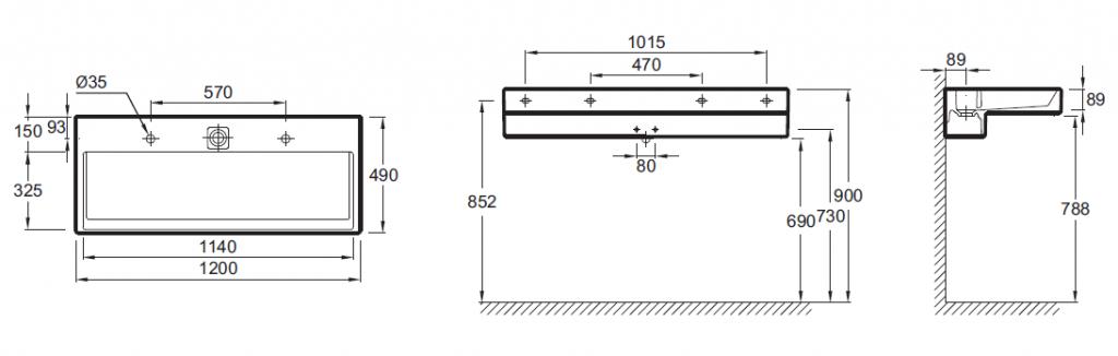 Plan vasque terrace l 120 perc 1 trou avec bandeau led blanc jacob delafon - Vasque jacob delafon ...