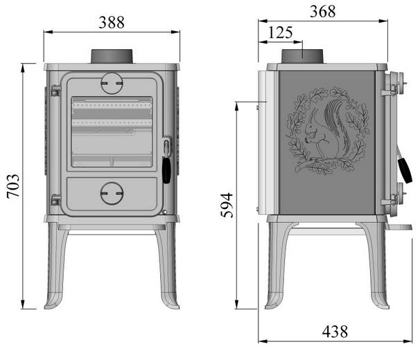 Poêle à bois 1412 5kW fonte Noir / décor écureuil - MORSØ Réf. 6414-0721
