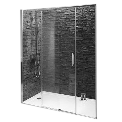 Porte coulissante contra 140cm verre transparent profil chrome jacob delaf - Porte coulissante apparente ...
