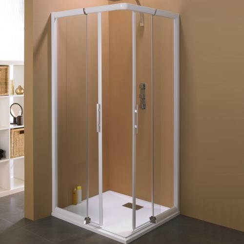 Porte Coulissante Java Sans Seuil 78 85cm Profile Blanc Verre