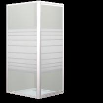Porte pivotante + côté fixe Cayenne 80x80cm verre sérigraphié profilé Blanc - OZE Réf. CAYENNE