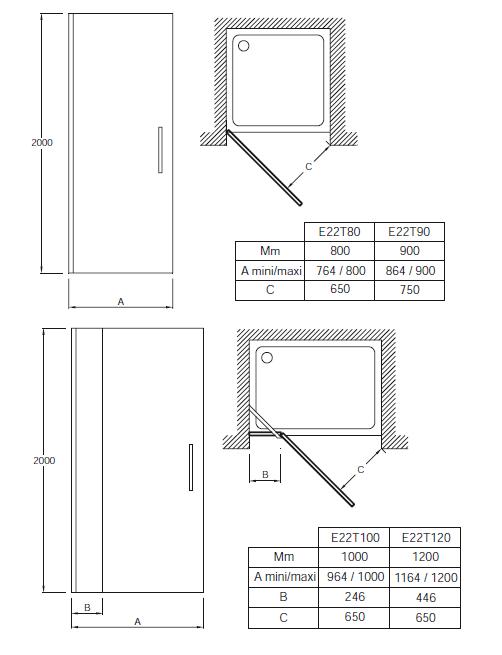 Porte pivotante contra 100cm verre transparent profil for Mecanisme porte pivotante
