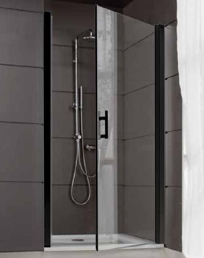 Porte Pivotante Jazz 90cm Profile Noir Mat Vitrage Transparent Leda Ref L13jppt09035