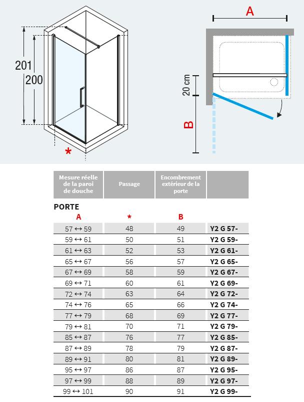 Porte pivotante young 2 0 g 79cm verre transparent for Mecanisme porte pivotante