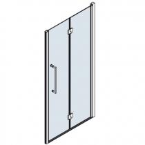 Porte pliante pivotante Young 2.0 1BS 57-61cm verre transparent profilé chromé - NOVELLINI Réf. Y21BS57D1K
