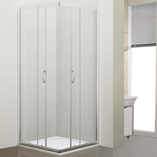 Portes coulissantes d\'angle Alizé 80-90x79-90cm verre transparent profilé Chromé - OZE Réf. ALIZE90VTC