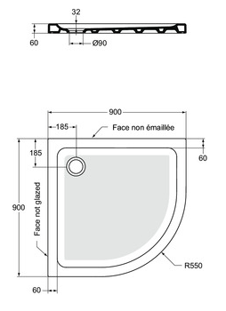 Receveur 1/4 de rond Connect Design 90x90cm céramique Blanc - Ideal Standard R2672YK
