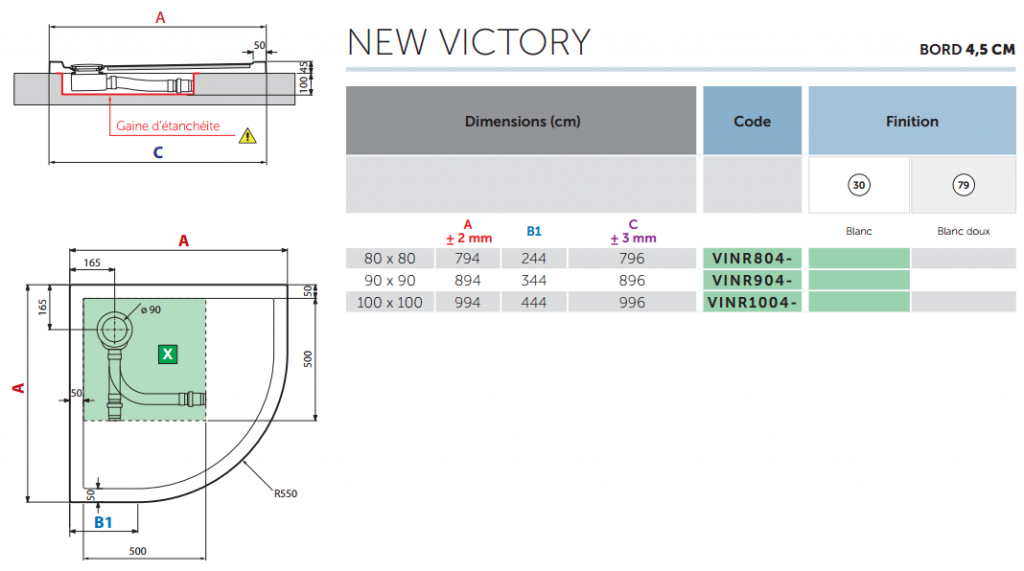 Receveur 1/4 de rond extra-plat Novellini New Victory Blanc