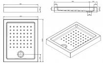 Receveur à encastrer Strado 100x80cm Blanc - SANINDUSA Réf. 800920