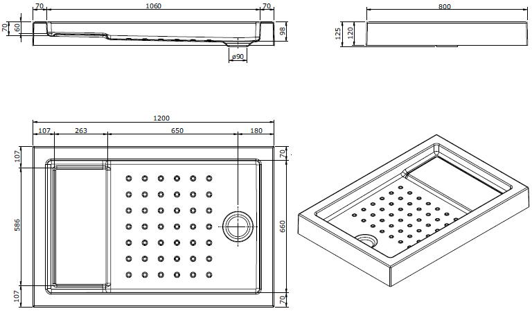 Receveur à encastrer Strado 120x80cm Blanc - SANINDUSA Réf. 800670