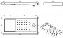 Receveur à encastrer Strado 140x75cm Blanc - SANINDUSA Réf. 800390