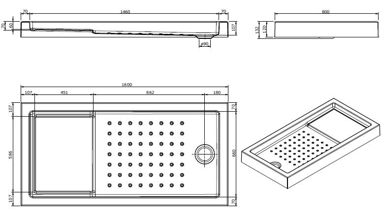 Receveur à encastrer Strado 160x80cm Blanc - SANINDUSA Réf. 800690