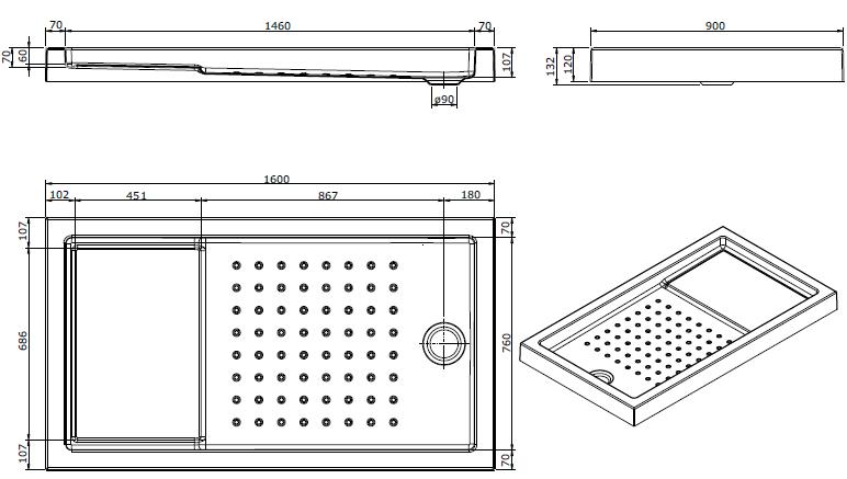 Receveur à encastrer Strado 160x90cm Blanc - SANINDUSA Réf. 800780