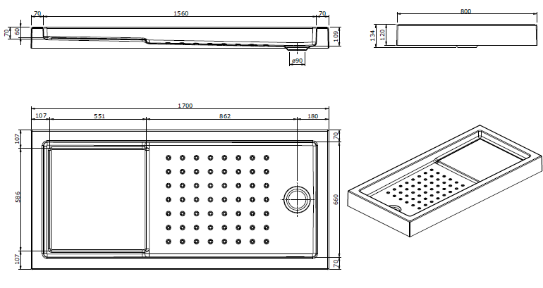 Receveur à encastrer Strado 170x80cm Blanc - SANINDUSA Réf. 800710