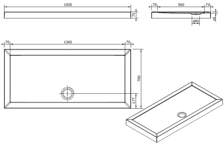 Receveur à poser Open 150x70cm Blanc - SANINDUSA Réf. 801590