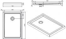 Receveur à poser Piano 100x70cm antidérapant Blanc - SANINDUSA Réf. 80307