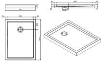 Receveur à poser Piano 100x75cm antidérapant Blanc - SANINDUSA Réf. 80308