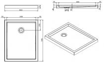 Receveur à poser Piano 100x80cm Blanc - SANINDUSA Réf. 80238