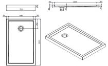 Receveur à poser Piano 120x75cm antidérapant Blanc - SANINDUSA Réf. 80313