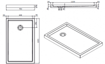 Receveur à poser Piano 120x75cm Blanc - SANINDUSA Réf. 80242