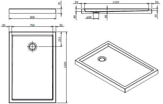 Receveur à poser Piano 120x80cm antidérapant Blanc - SANINDUSA Réf. 80314