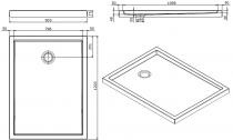 Receveur à poser Piano 120x90cm antidérapant Blanc - SANINDUSA Réf. 80315