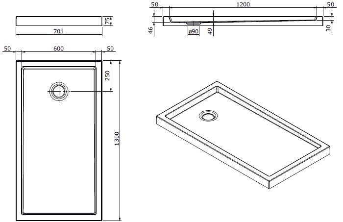 Receveur à poser Piano 130x70cm antidérapant Blanc - SANINDUSA Réf. 80316