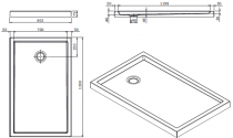 Receveur à poser Piano 130x80cm antidérapant Blanc - SANINDUSA Réf. 80318
